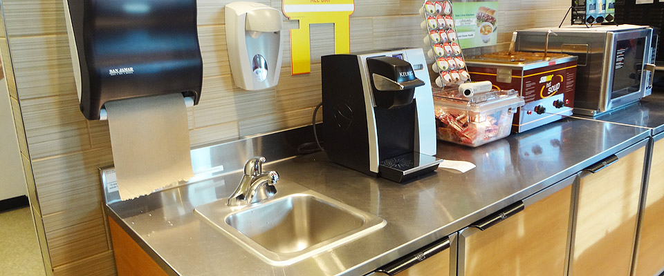 Stainless Steel Sinks and Fixtures in Subway Restaurants from Richmond to the Interior